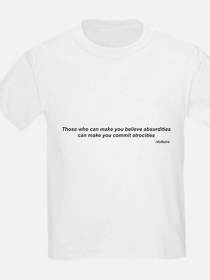 """Voltaire quote - """"atrocities"""" Kids T-Shirt"""