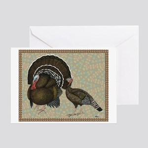 Turkeys Standard Bronze Pair Greeting Card