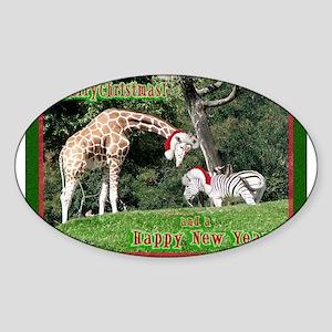 Helaine's Giraffe/Zebra Chris Sticker (Oval 10 pk)