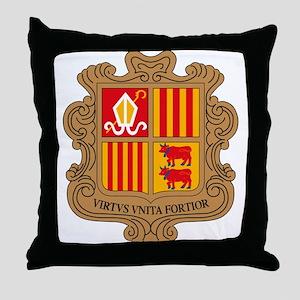 Andorra Coat of Arms Throw Pillow