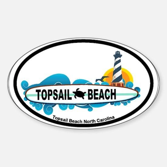 Topsail Beach NC - Surf Design Sticker (Oval)