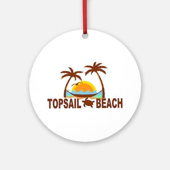 Topsail Beach - Palm Trees Design Ornament (Round)
