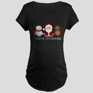 Merry Christmas Characters Maternity Dark T-Shirt