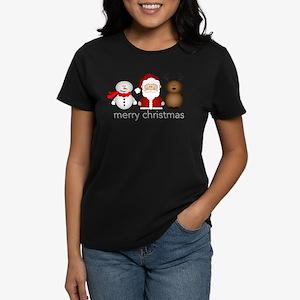 Merry Christmas Characters Women's Dark T-Shirt