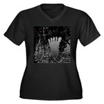 Neon Foot Women's Plus Size V-Neck Dark T-Shirt