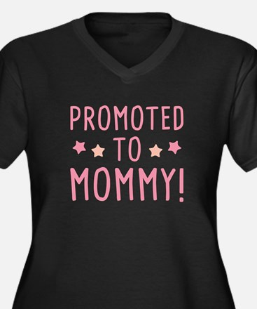 Promoted To Mommy! Women's Plus Size V-Neck Dark T