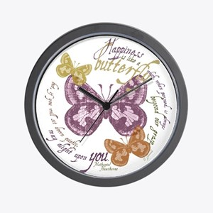 Vintage Butterflies Wall Clock