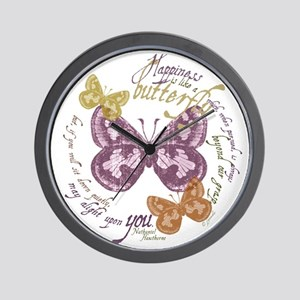 Vintage Butterflies Wall Clock