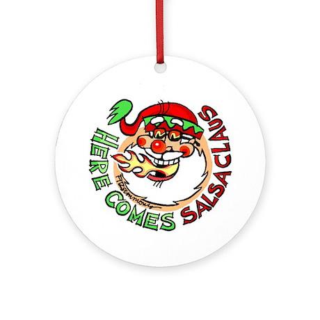 """Santa Claus """"Salsa Claus"""" ornament (roun"""