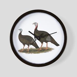 Eastern Wild Turkeys Wall Clock