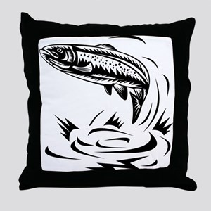 trout fish jumping Throw Pillow
