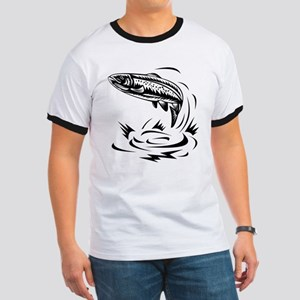 trout fish jumping Ringer T