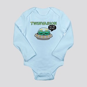 TWINVASION We're Here! Long Sleeve Infant Bodysuit