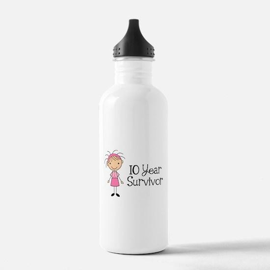 10 Year Survivor Breast Cancer Water Bottle