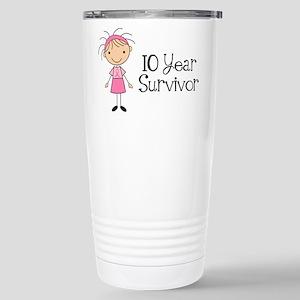 10 Year Survivor Breast Cancer Stainless Steel Tra