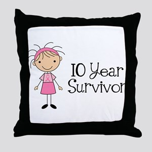 10 Year Survivor Breast Cancer Throw Pillow