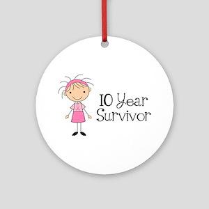 10 Year Survivor Breast Cancer Ornament (Round)