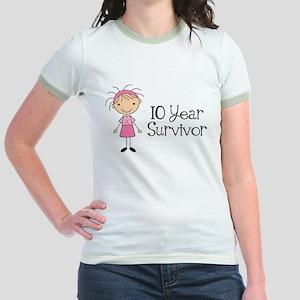 10 Year Survivor Breast Cancer Jr. Ringer T-Shirt