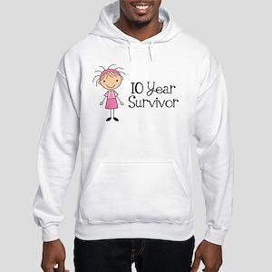 10 Year Survivor Breast Cancer Hooded Sweatshirt