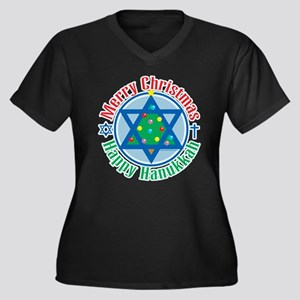 Christmas-Hanukkah Women's Plus Size V-Neck Dark T