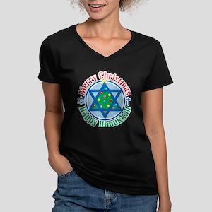 Christmas-Hanukkah Women's V-Neck Dark T-Shirt