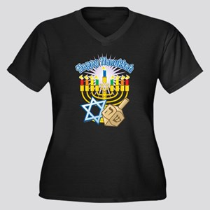 Happy Hanukkah Women's Plus Size V-Neck Dark T-Shi