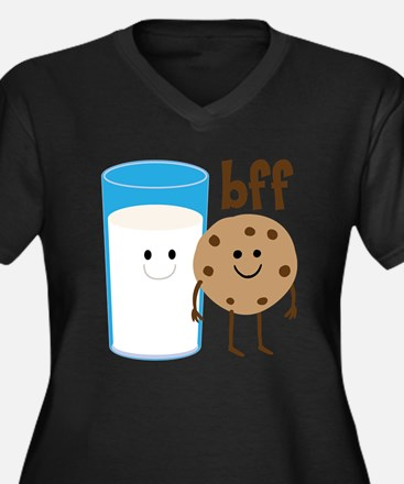 Milk & Cookies BFF Women's Plus Size V-Neck Dark T