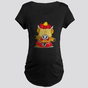 Highland Cow Red Kilt Maternity Dark T-Shirt