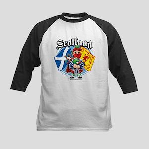 Scotland Flag & Piper Kids Baseball Jersey