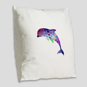 dolphin Burlap Throw Pillow