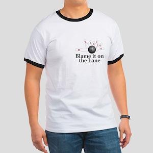 Blame It On The Lane Logo 2 Ringer T Design Front