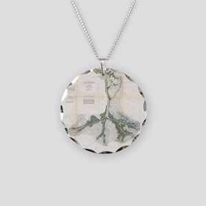 Vintage Map of The Mississip Necklace Circle Charm