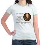 Ben Franklin on Control Jr. Ringer T-Shirt