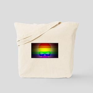 SKULL gay rainbow art Tote Bag