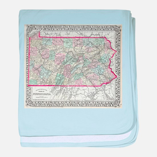 Vintage Map of Pennsylvania (1874) baby blanket