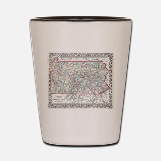 Vintage Map of Pennsylvania (1874) Shot Glass