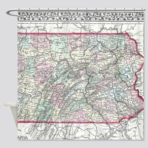 Vintage Map of Pennsylvania (1874) Shower Curtain