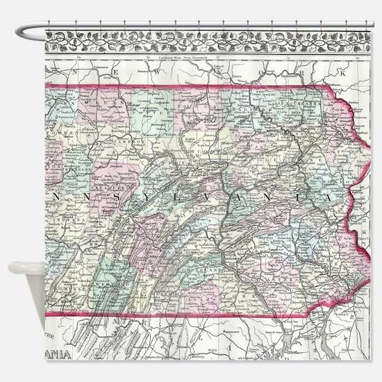 Vintage Map of Pennsylvania (1874) Shower Curtain
