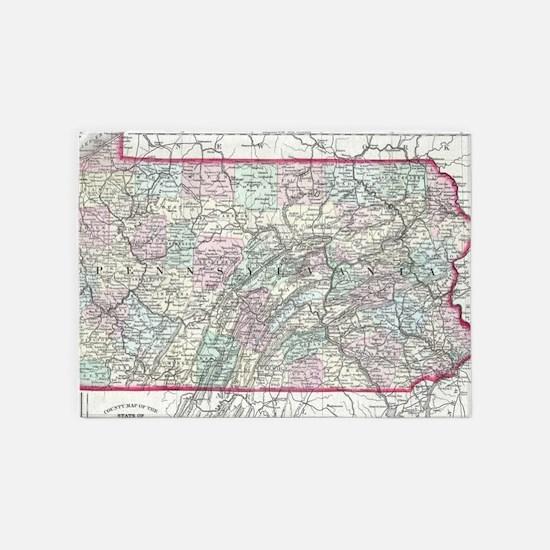 Vintage Map of Pennsylvania (1874) 5'x7'Area Rug