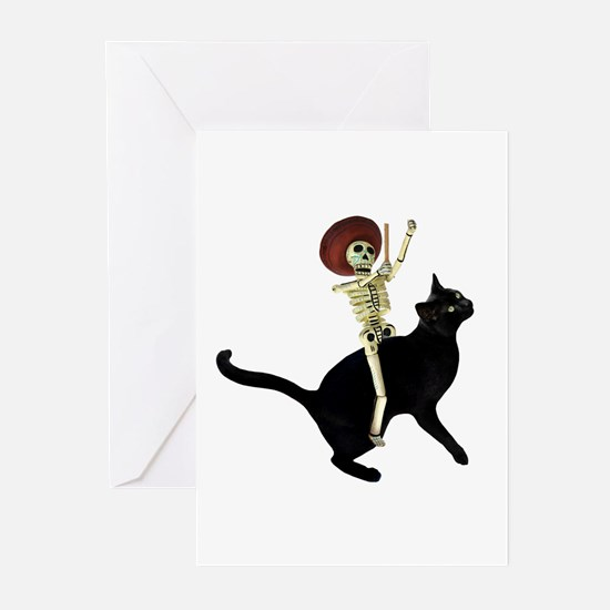 Skeleton on Cat Greeting Cards (Pk of 10)