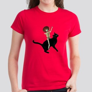 Skeleton on Cat Women's Dark T-Shirt