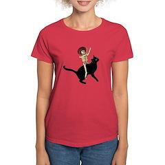 Skeleton on Cat Women's Dark T-Shirt