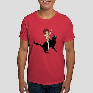 Skeleton on Cat Dark T-Shirt