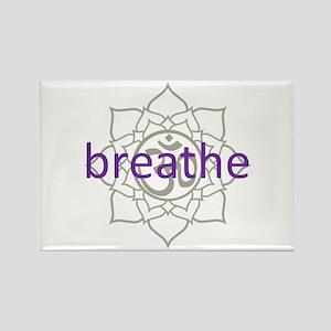 breathe Om Lotus Blossom Rectangle Magnet
