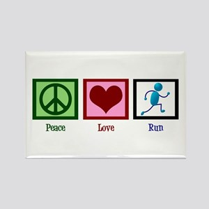 Peace Love Run Rectangle Magnet