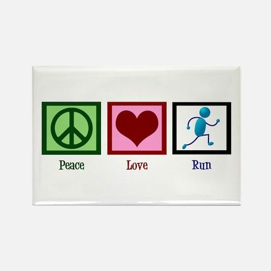 Peace Love Run Rectangle Magnet