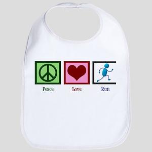 Peace Love Run Cotton Baby Bib