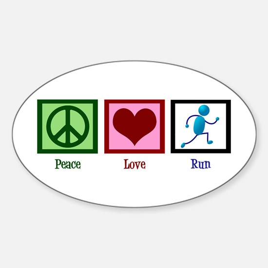 Peace Love Run Sticker (Oval)