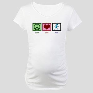 Peace Love Run Maternity T-Shirt