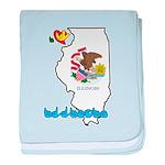 ILY Illinois baby blanket